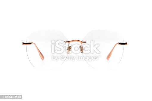 1047544590 istock photo Gold transparent glasses metal isolated on white background 1133030543