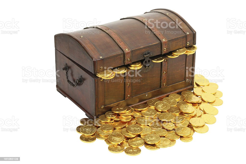 gold treasure chest isolated royalty-free stock photo