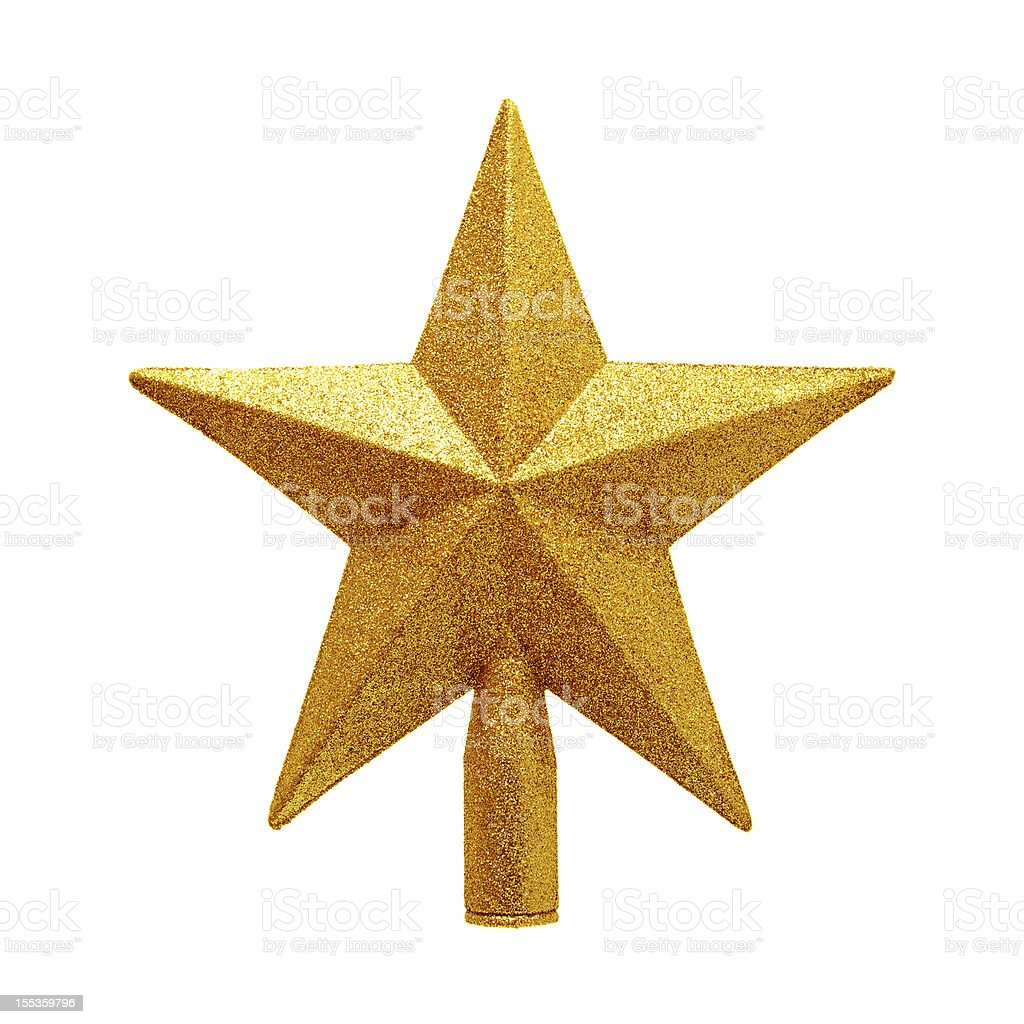 Gold tree topper isolated on white background stock photo