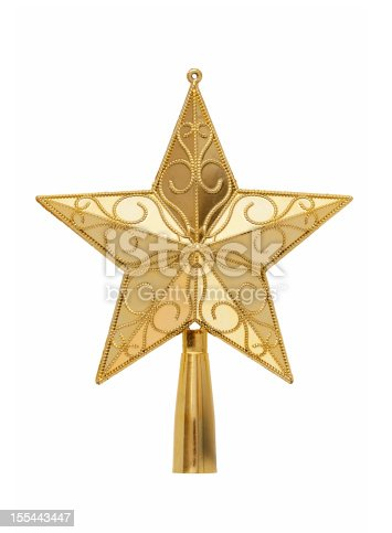 Gold tree topper  (Clipping path) isolated on white background