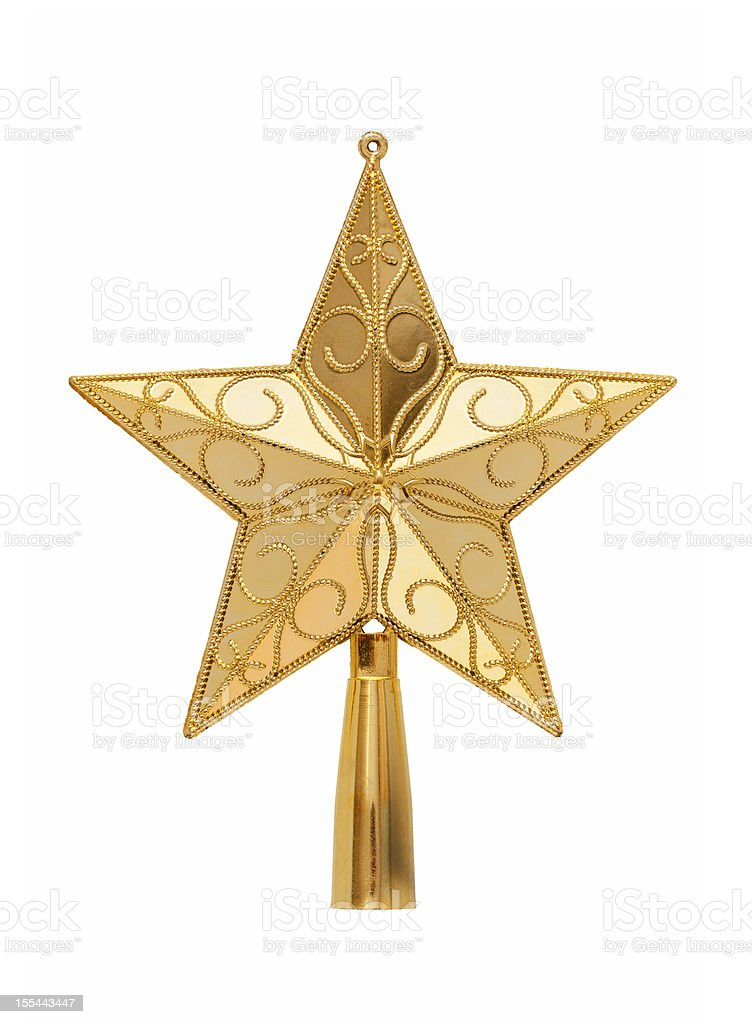 Gold tree topper (Clipping path!) isolated on white background stock photo