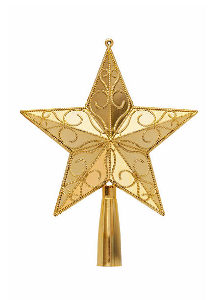 gold tree topper (clipping path!) isolated on white background - kerstster stockfoto's en -beelden
