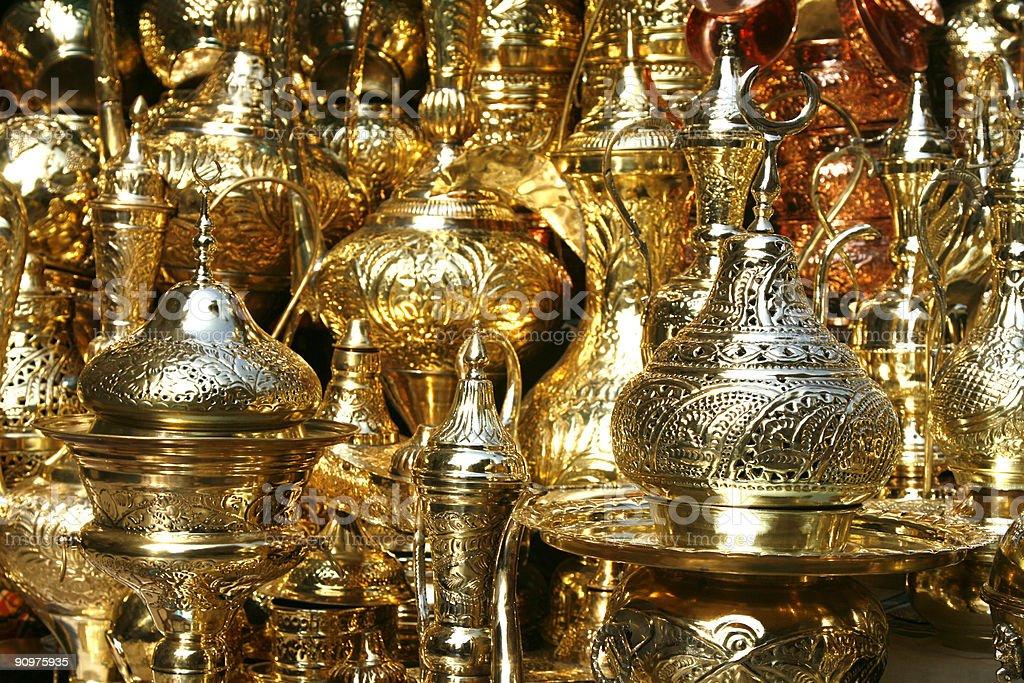 Gold trinkets at Khan Al Khalili in Cairo Egypt stock photo