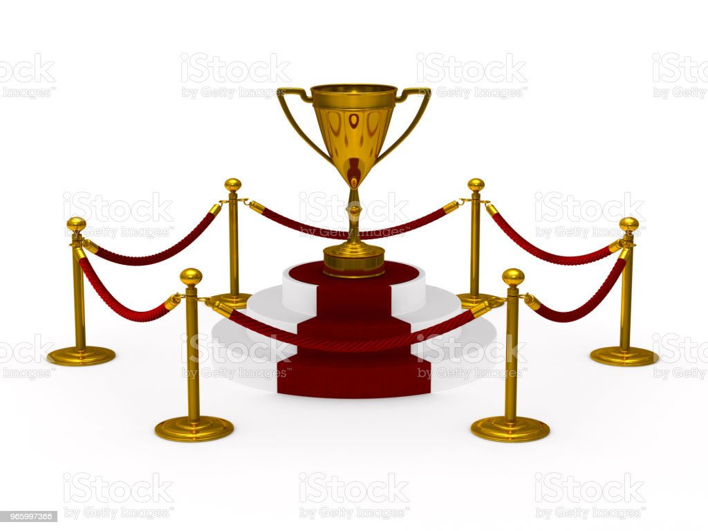 gold trophy cup on podium. white background. Isolated 3D illustration stock photo