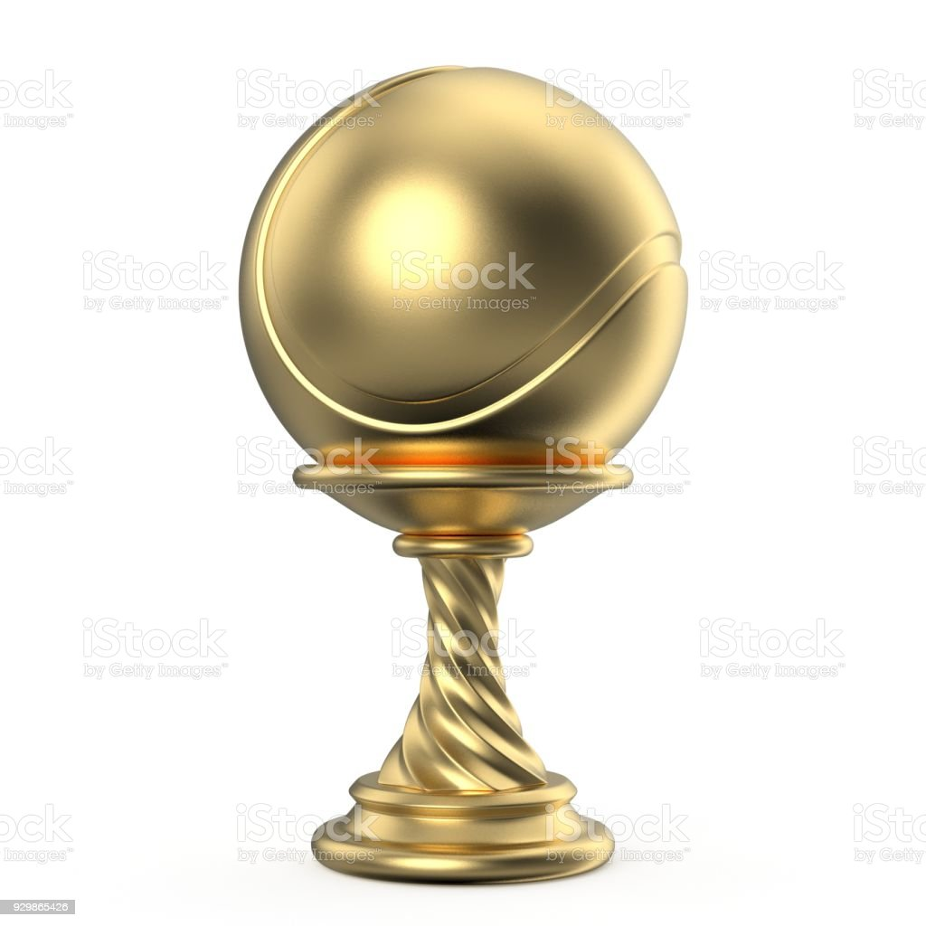 Gold trophy cup TENNIS 3D stock photo