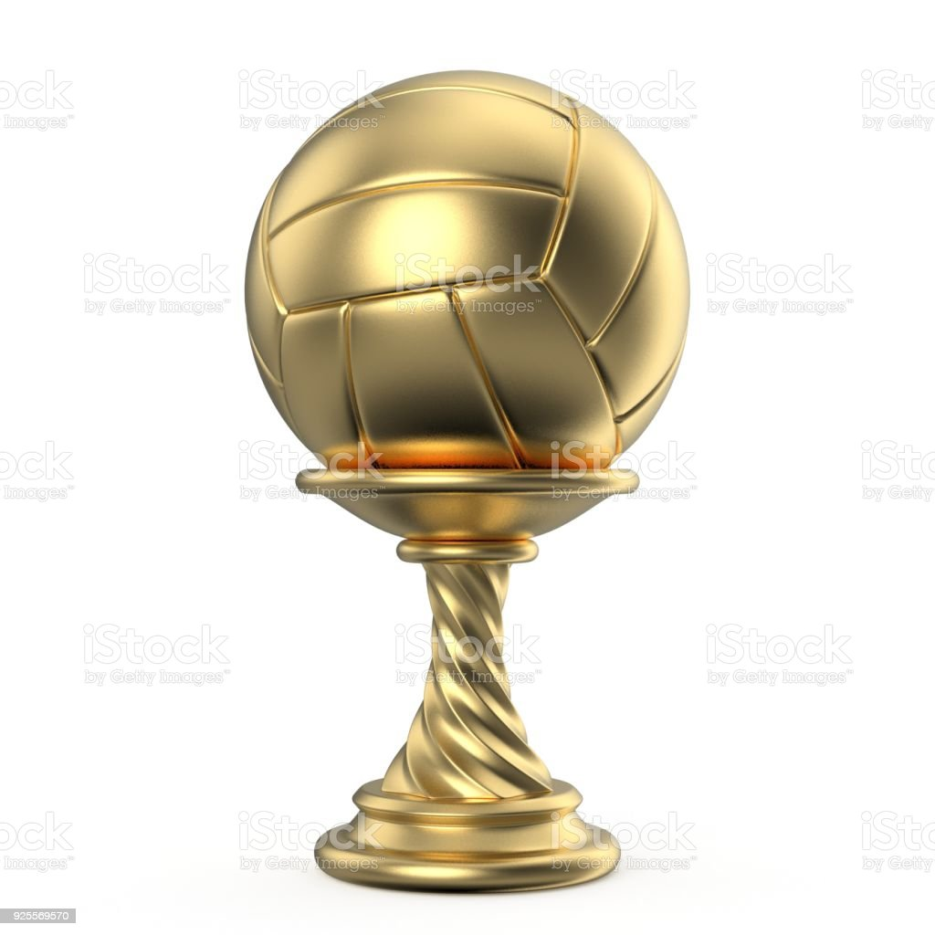 Gold trophy cup VOLLEYBALL 3D stock photo