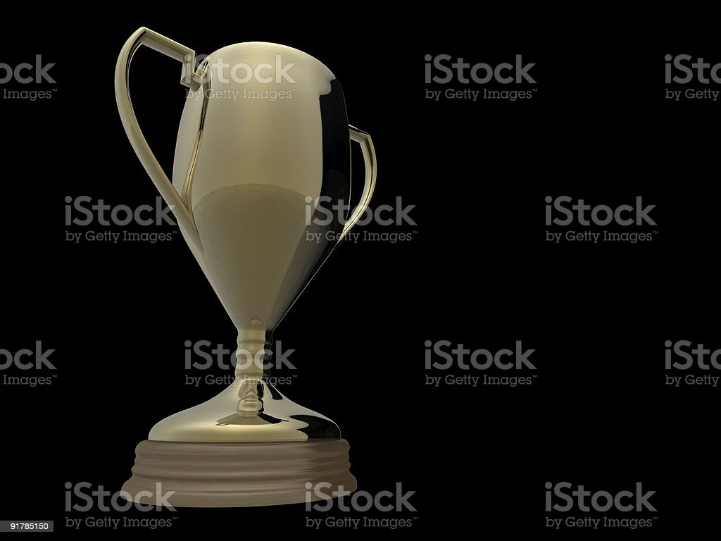 Gold trophy on black background royalty-free stock photo