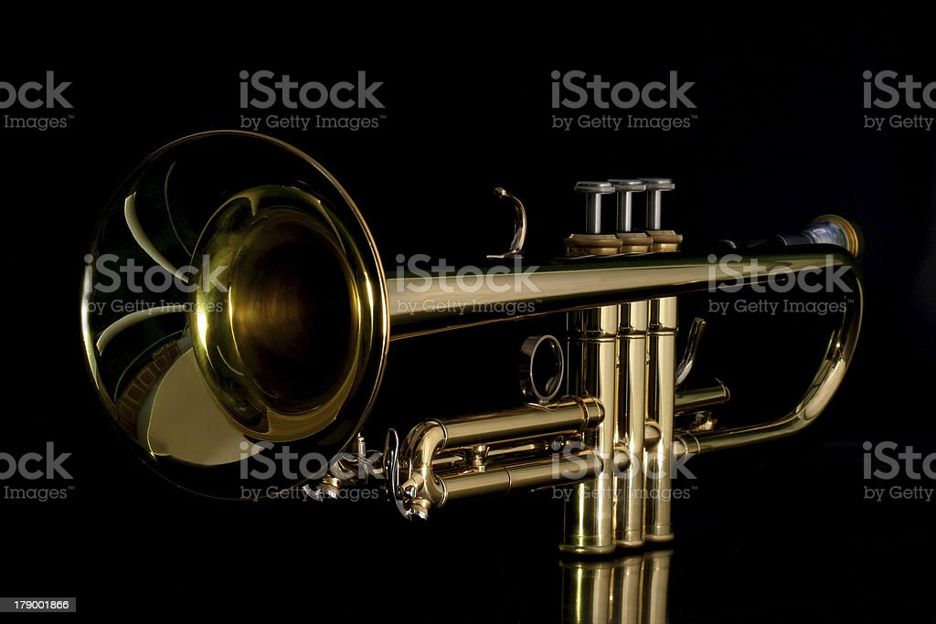 gold trumpet in night royalty-free stock photo