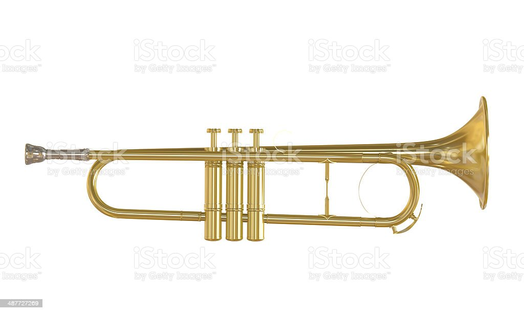 Gold Trumpet Isolated stock photo