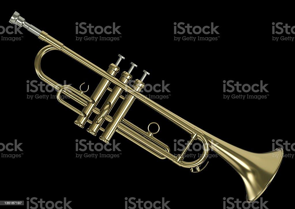 Gold Trompete auf schwarzem Hintergrund – Foto