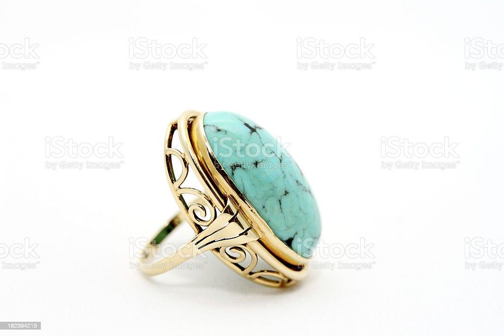 Gold Turquoise Ring on White Background royalty-free stock photo