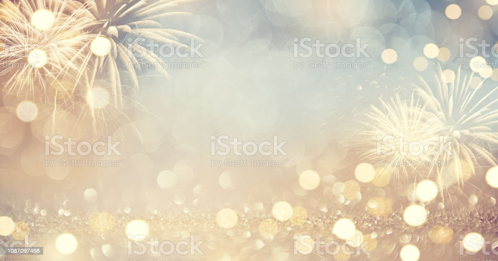 Gold Vintage Fireworks and bokeh in New Year eve and copy space. Abstract background holiday. - Royalty-free 2019 Foto de stock