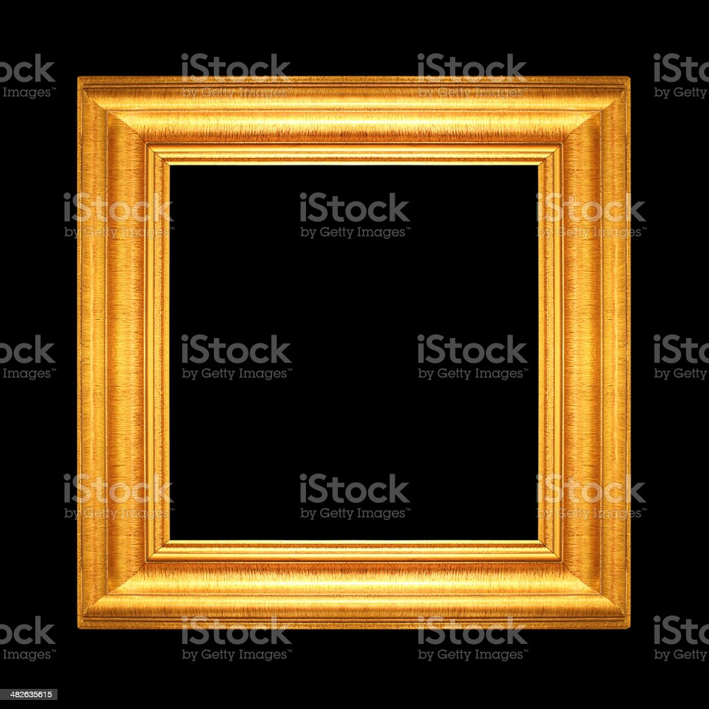 Gold vintage frame isolated on Black background stock photo