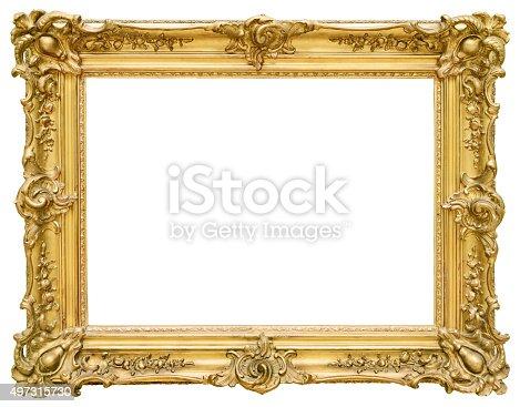istock Gold vintage frame isolated on white background 497315730