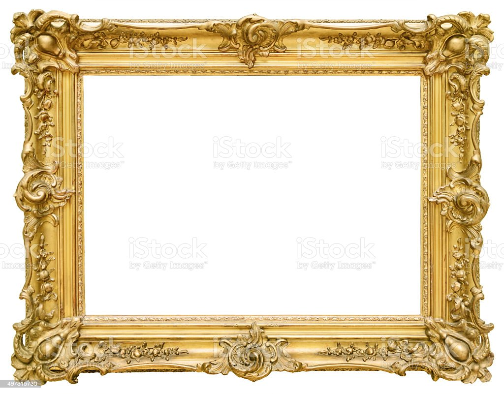 Gold vintage frame isolated on white background stock photo