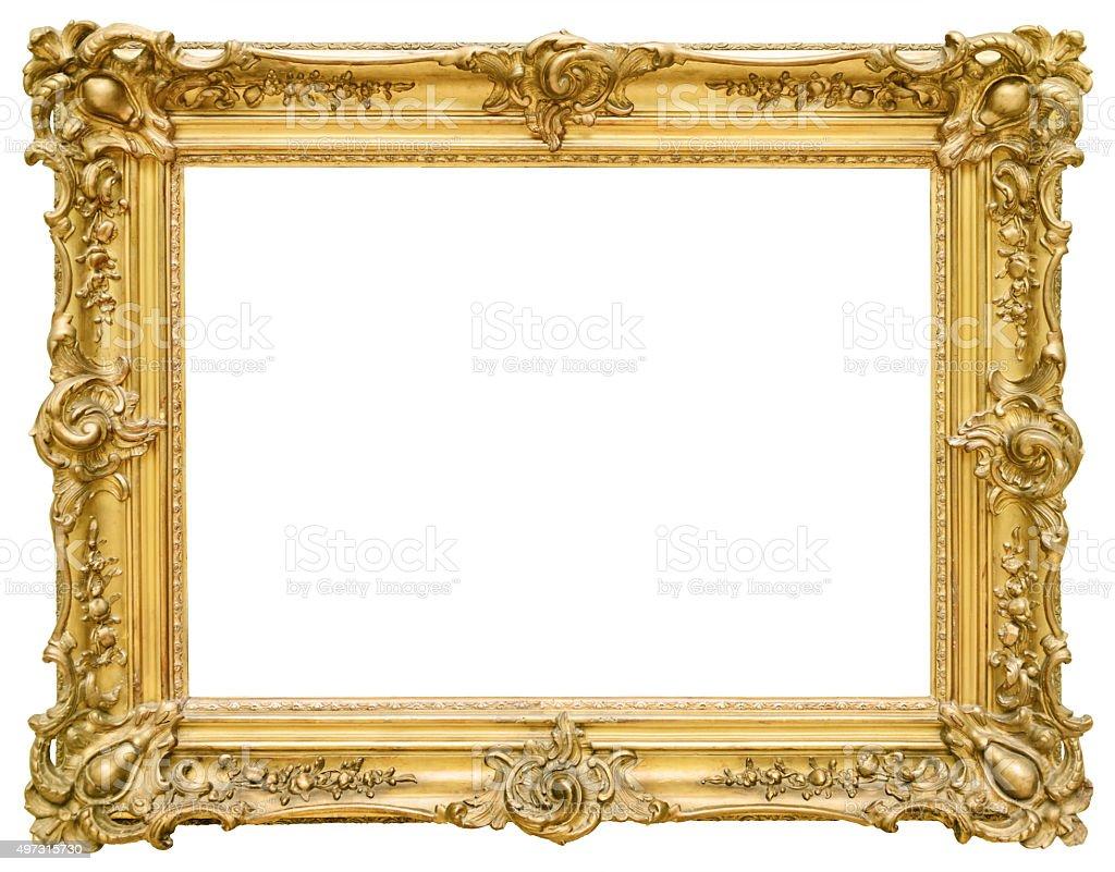 Золотой Винтажная рамка изолированные на белом фоне стоковое фото