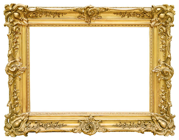 gold vintage frame isolated on white background - barokstijl stockfoto's en -beelden
