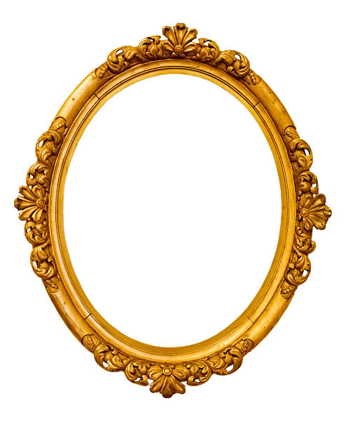 gold vintage frame isolated on white background - ellipse stock photos and pictures