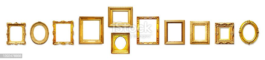 istock Gold vintage frames collection 1202476935