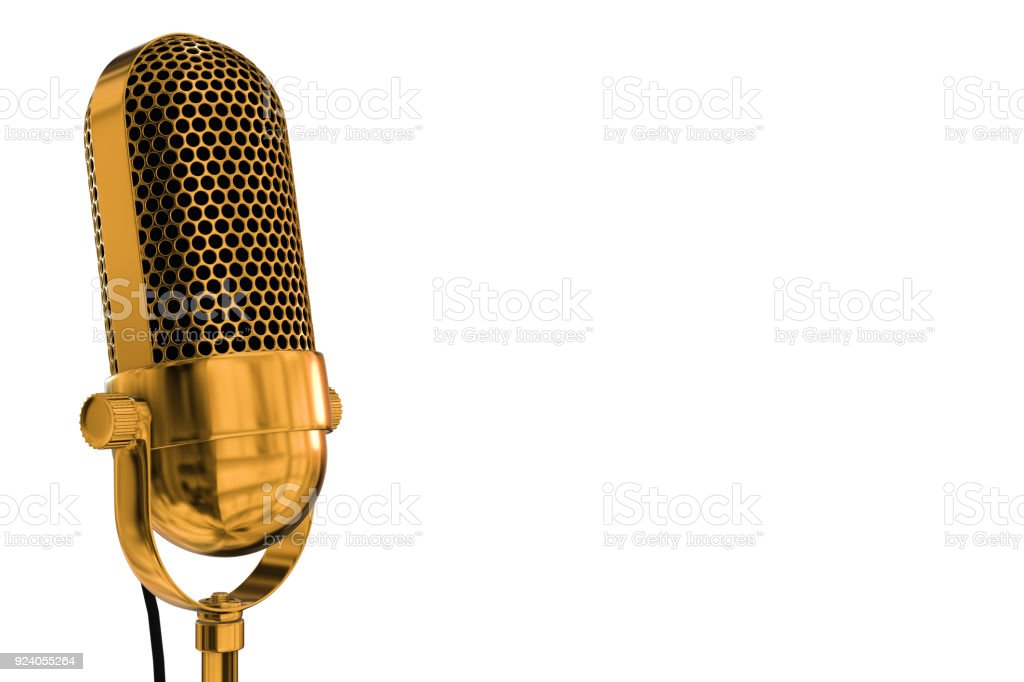 Gold vintage microphone with a white background stock photo