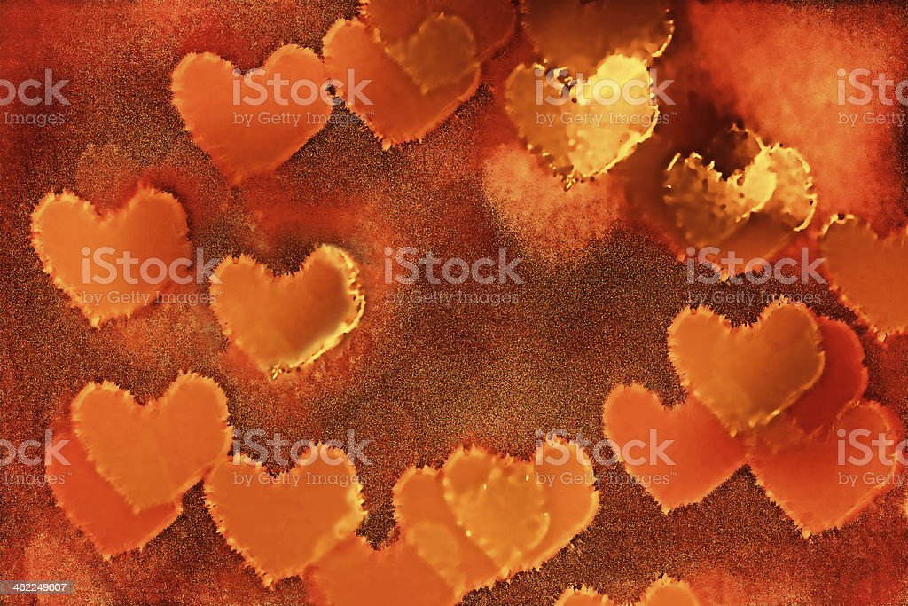 Gold Vintage Paper Hearts stock photo