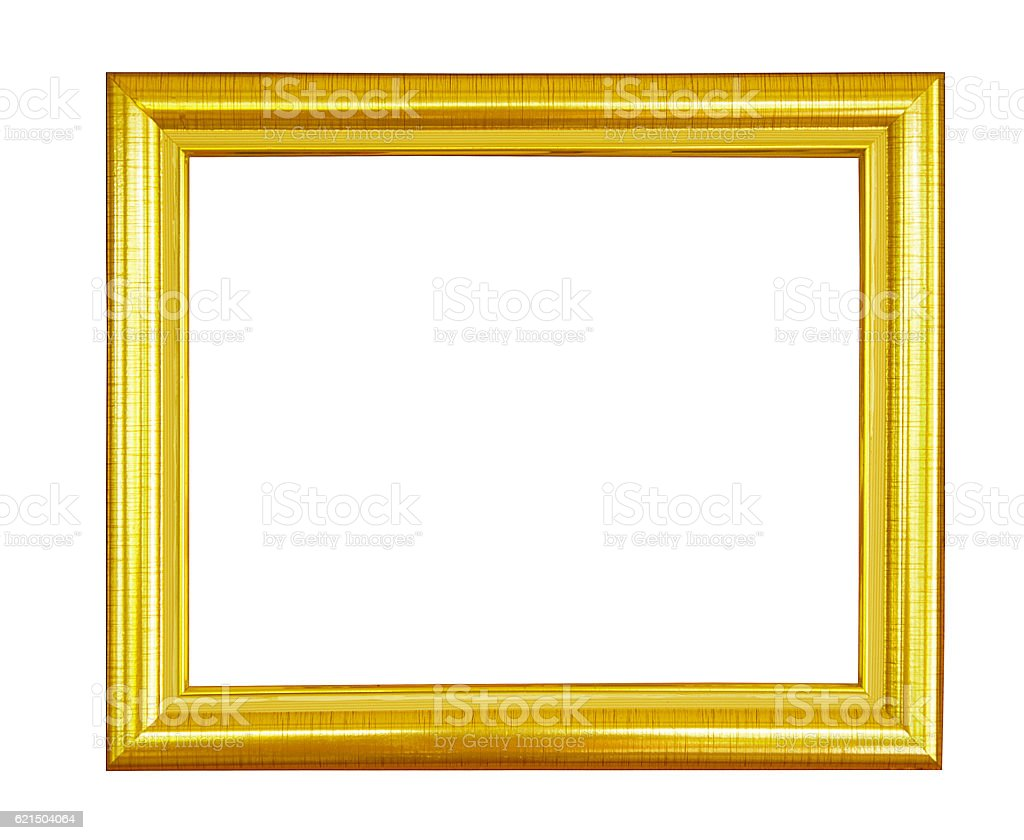 Gold vintage picture and photo frame isolated. photo libre de droits