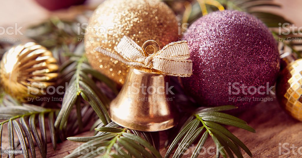 gold violet purple and red christmas decorations royalty free stock photo