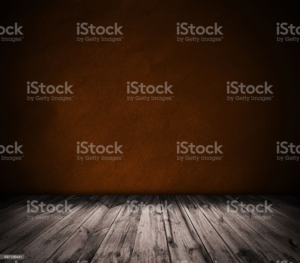 Gold wall and wooden floor interior background stock photo