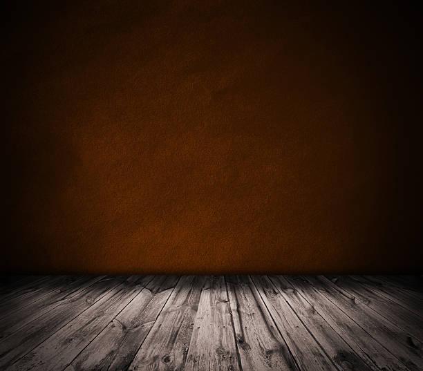 Oro de pared y de piso de madera interior de fondo - foto de stock
