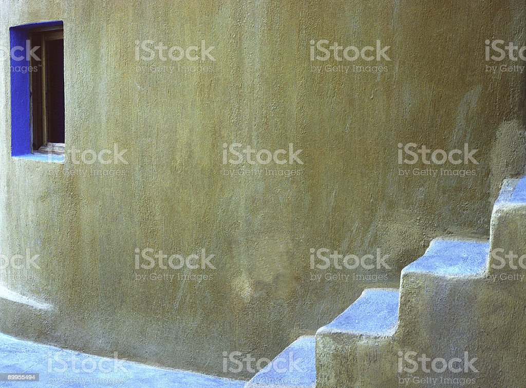 Gold Wall, Blue Window and Steps, Santorini, Greece stock photo