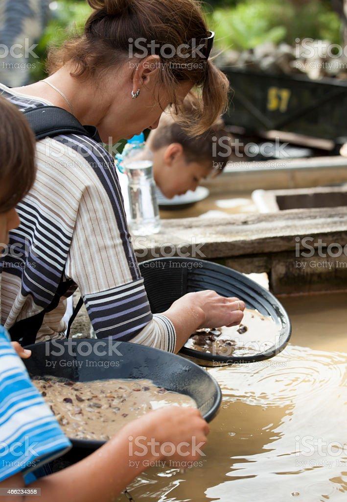 Gold washing stock photo