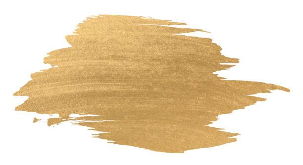 ブラシ ストロークを輝くゴールド水彩テクスチャ ペイント汚れ ストックフォト