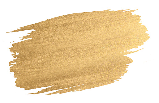Gold Watercolor Texture Paint Stain Shining Brush Stroke Stock Photo - Download Image Now