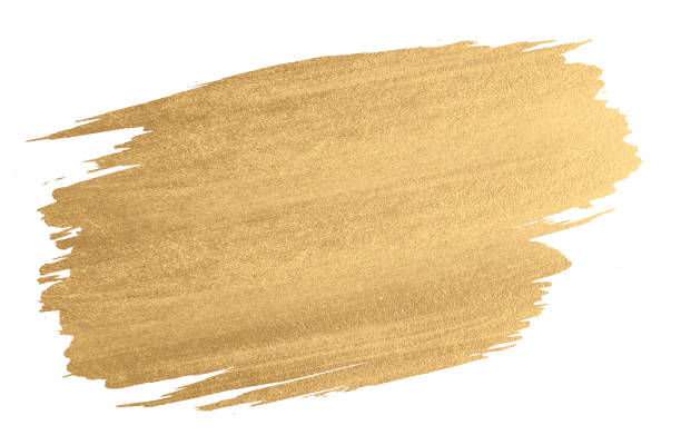 Gold watercolor texture paint stain shining brush stroke Gold watercolor texture paint stain shining brush stroke paintbrush stock pictures, royalty-free photos & images