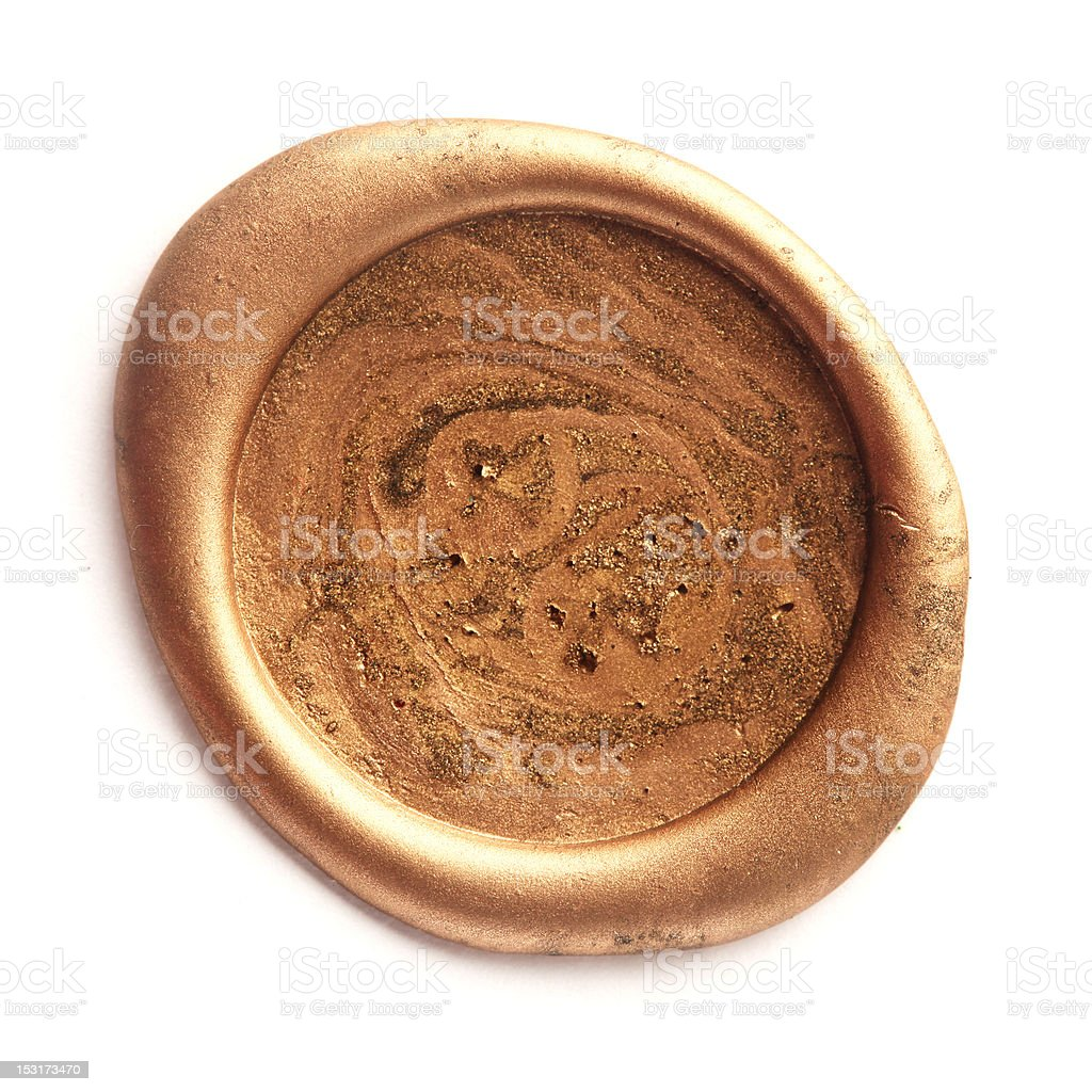 Gold wax seal stock photo