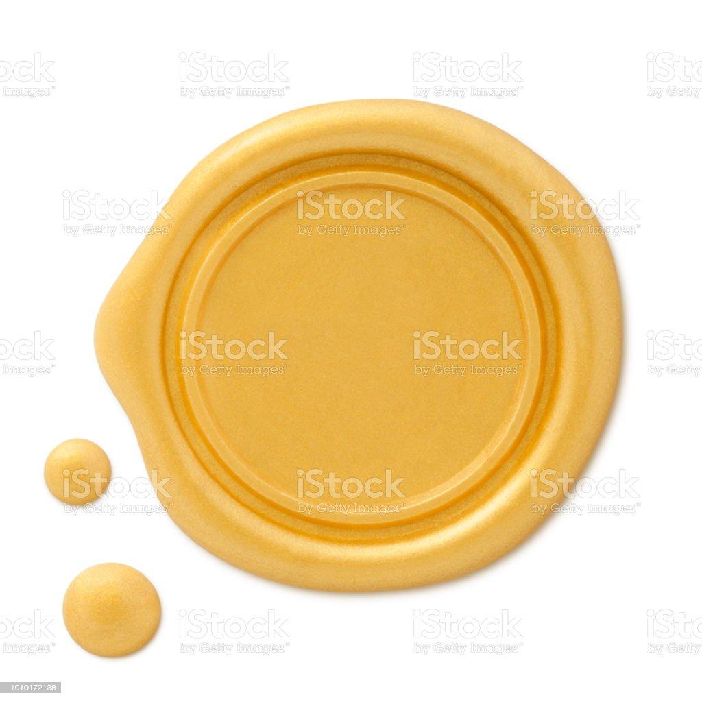 Altın mum mühür damgası (yolu ile) stok fotoğrafı