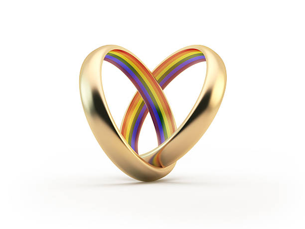 Gold Wedding LGBT Colors Inside Rings Forming A Heart Shape stock photo