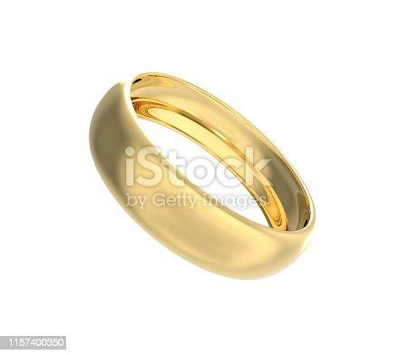 Gold Wedding Ring 3D Rendering