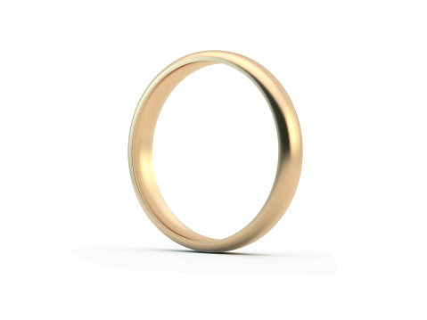 Gold wedding ring. Great use for wedding, love and romance concepts. Isolated on white background. Clipping path is included.