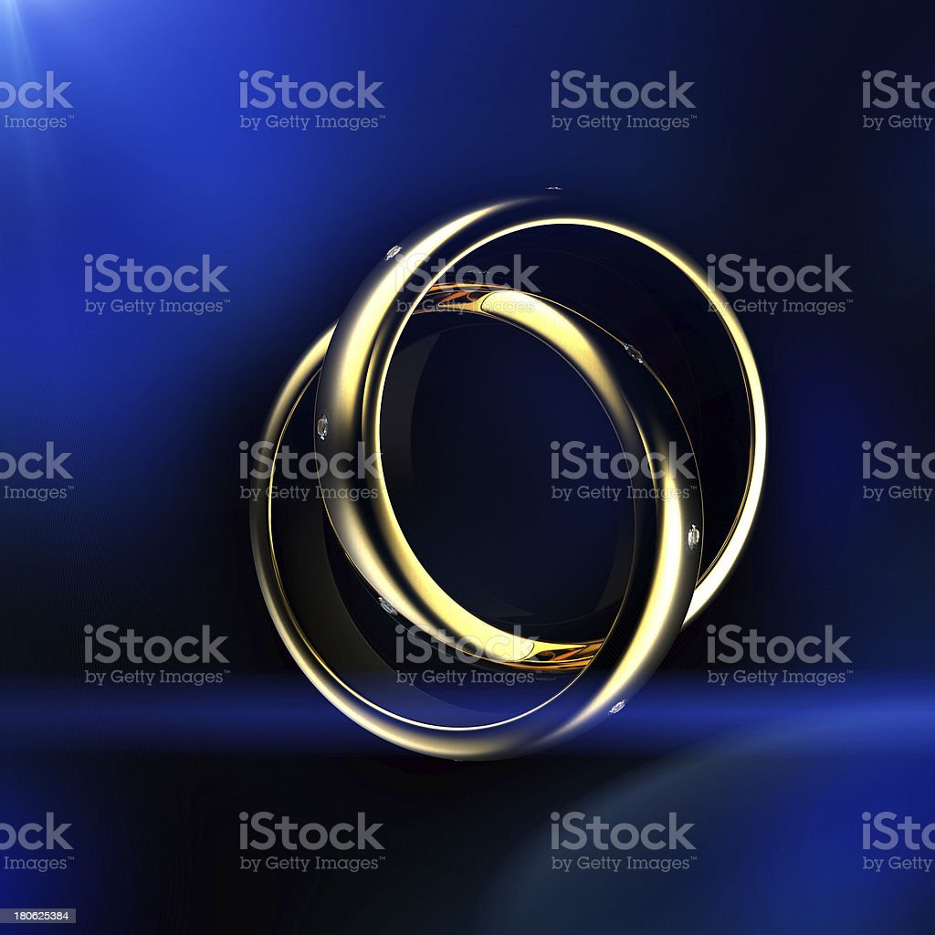 Gold Wedding Ring with diamond. Holiday symbol royalty-free stock photo