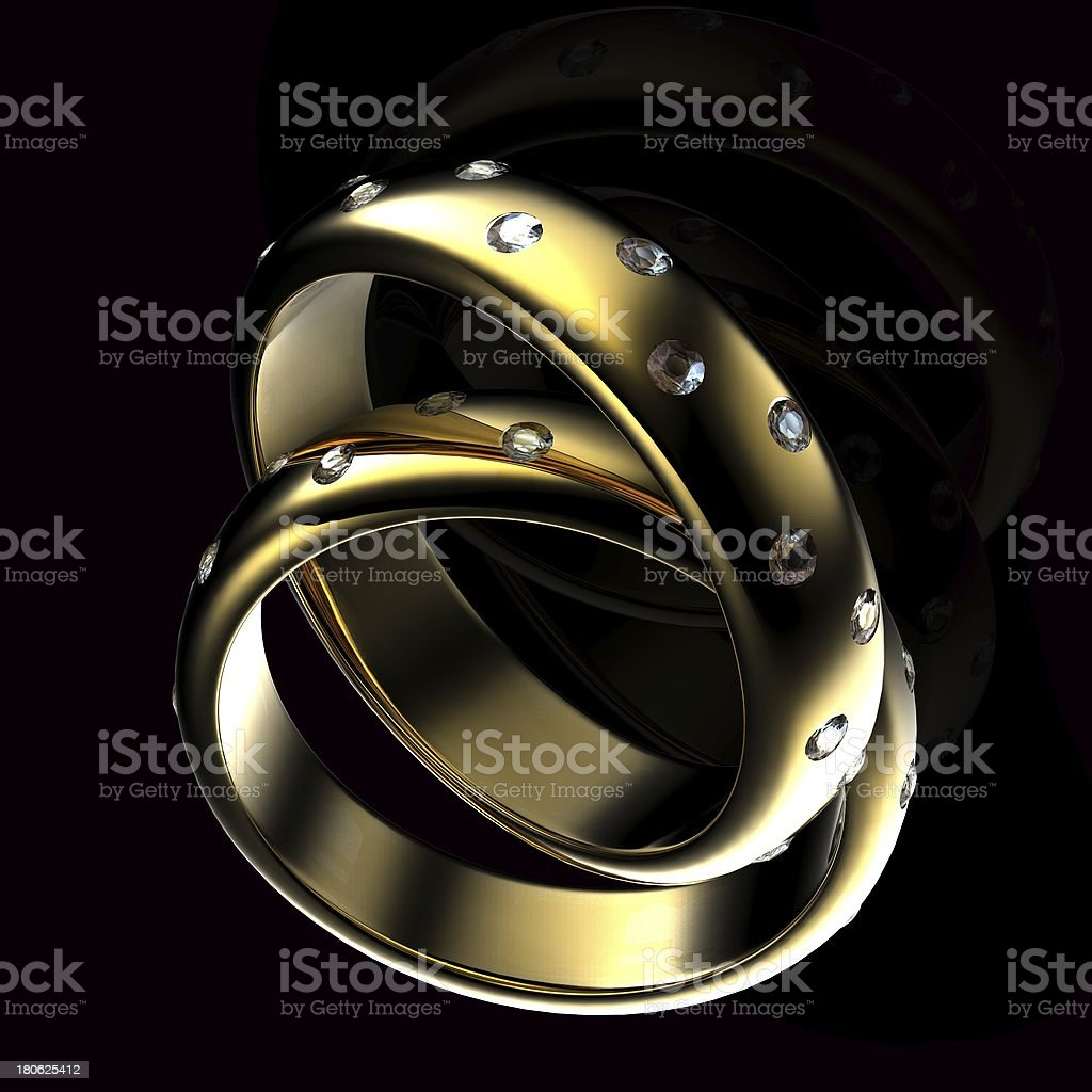 Gold Wedding Ring with diamond. Holiday symbol royalty-free stock photo