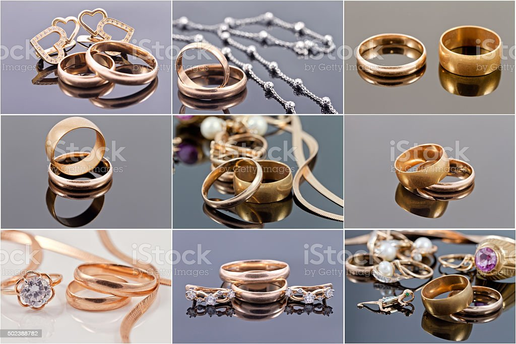 gold wedding rings and wedding jewelry stock photo