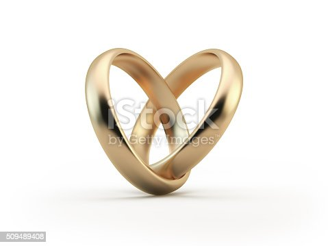 Gold wedding rings forming a heart shape. Great use for wedding, love and romance concepts. Isolated on white background. Clipping path is included.