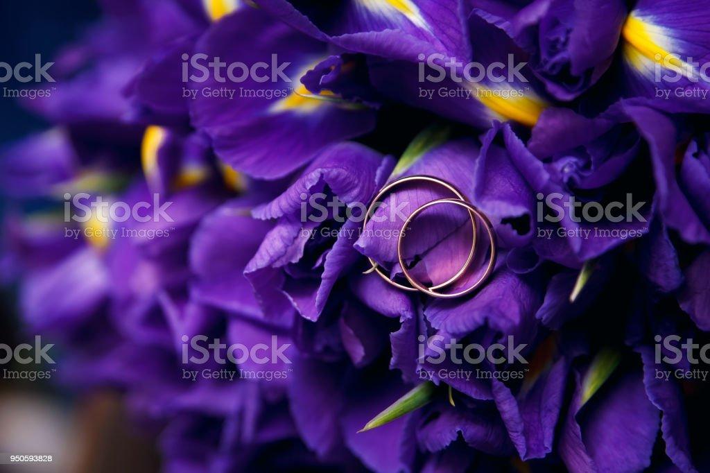 Gold wedding rings on purple beautiful flowers