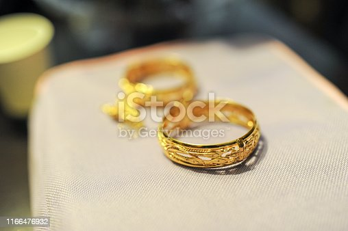 Closeup Image of Chinese Gold wedding rings.