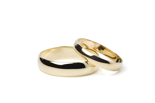 Gold Wedding Rings (Clipping Path) stock photo