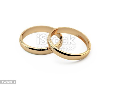Gold wedding rings sitting on top of each other. Great use for wedding, love and romance concepts. Isolated on white background. Clipping path is included.