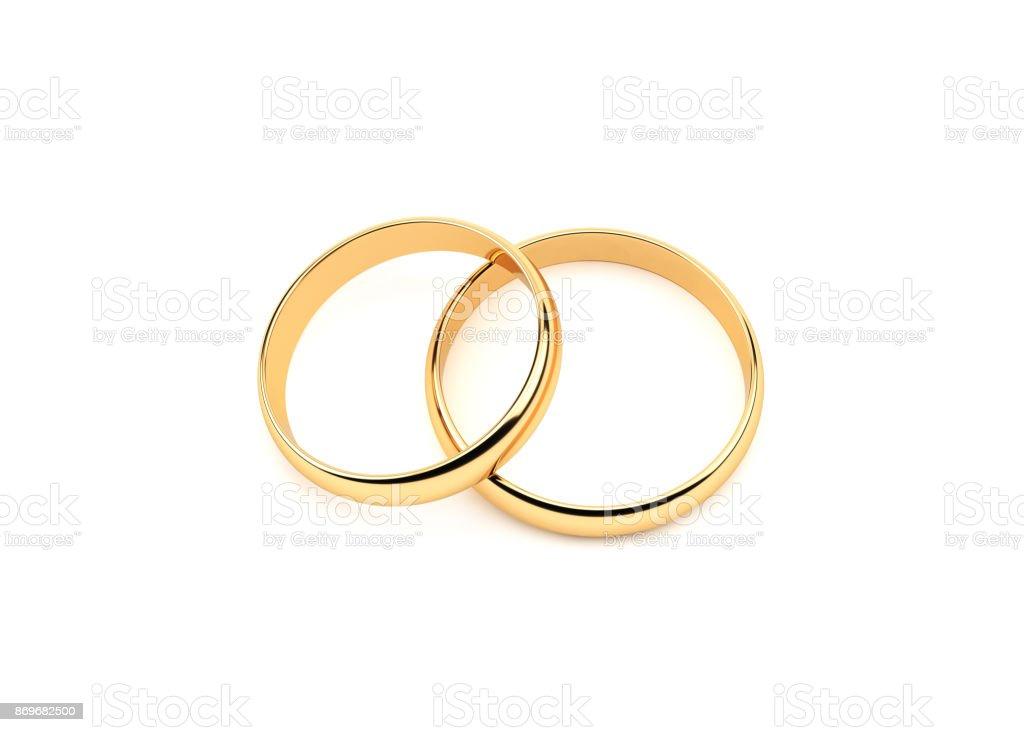 Gold Wedding Rings.On White stock photo