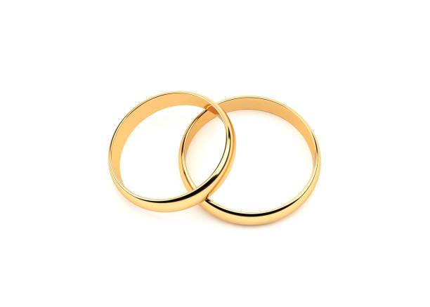 Rings.On de boda oro blanco - foto de stock
