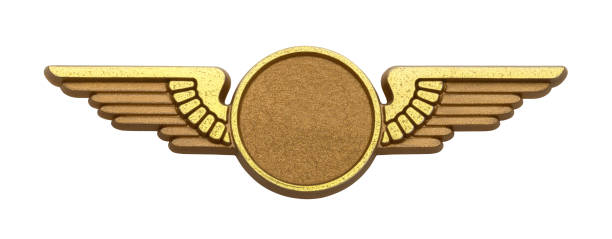 Gold Wings Gold Plastic Pilot Wings With Copy Space Isolated on White Background. insignia stock pictures, royalty-free photos & images